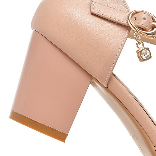 AllhqFashion Womens Buckle Kitten Heels PU Solid Pointed Closed Toe Pumps Shoes Pink mdwlGzZ7H3