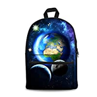 Freewander Galaxy Personalized School Backpack Middle School Canvas Book Bags (star-1)