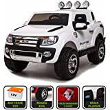 4x4 électrique 12Volts 10Ah Ford Ranger WILDTRAK Cristom® , télécommande 2.4ghz , pneu reelle , 2 places , Radio FM , connection MP3et USB , clé reelle , licence ford (Blanc)