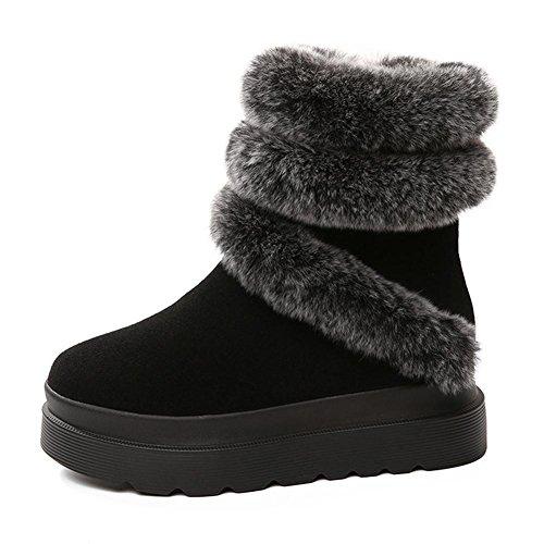 Mujer Botas Grueso Felpa Plano Corto Cuero Tubo Bajo Lado Cremallera Calentar Cómodo Zapatos . Black . 35