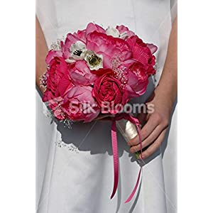 Modern Fuchsia Pink Peony & Ivory Anemone Bridal Wedding Bouquet 9