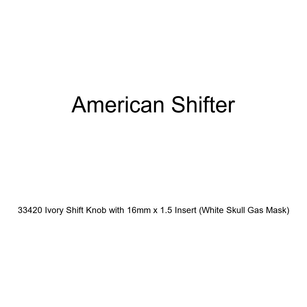 American Shifter 33420 Ivory Shift Knob with 16mm x 1.5 Insert White Skull Gas Mask