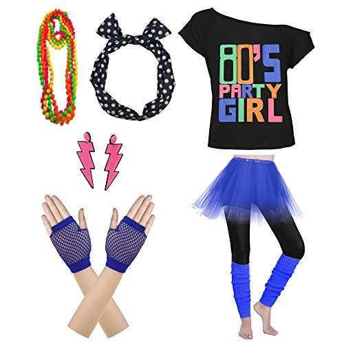 80's Party Womens Retro Costume Accessories Outfit Dress for 1980s Theme Party Supplies (L/XL, Navy)