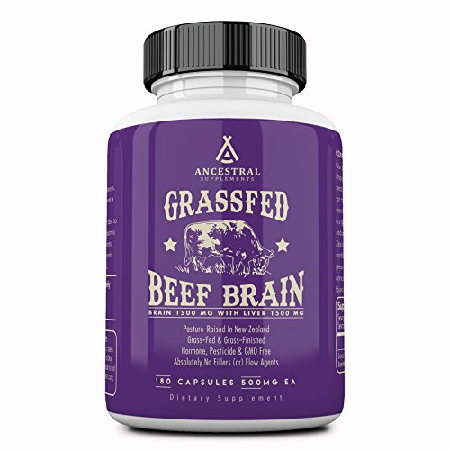 (Ancestral Supplements Grass Fed Brain (with Liver) - Supports Brain, Mood, Memory Health (180 Capsules))