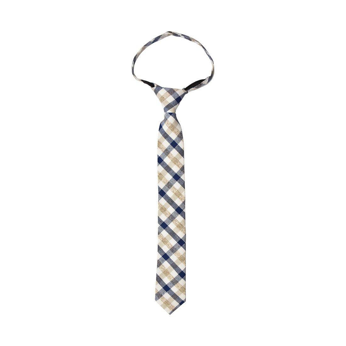 Checkered Cotton Zipper Up Necktie Adjustable Formal Tie AGZT0031CX