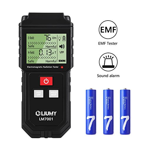 EMF Meter, LIUMY Handheld Mini EMF Electromagnetic Field Radiation Detector,Digital LCD Radiation Meter/Sound and Light Alarm ()