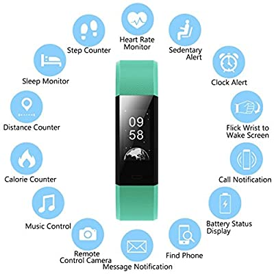 Fitness Tracker MRS LONG YG3 Plus Heart Rate Monitor Activity Tracker Waterproof/Pedometer/Call Message Alert/Sleep Monitor/Control Camera Music Player Mode/Calorie/ for Android and iOS (green)