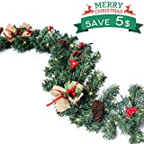Christmas Garland with Light, Christmas Wreaths Garland Decorations with Red Berries, Pine Cones, Bows Ornaments for Indoor/Outdoor Xmas Decor. (157 ' LED Lights & 70 ' Garland)