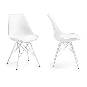 Woopi Lote 2 sillas Tower Plus Metal Blanca: Amazon.es: Hogar