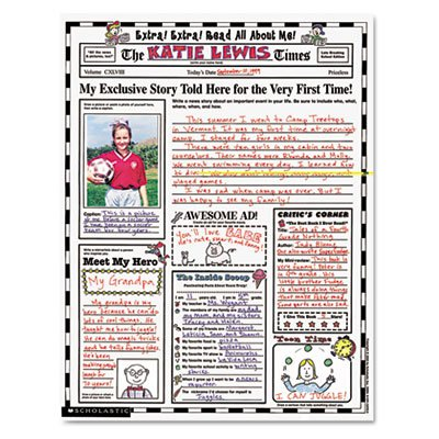 22' Classroom Decoration (Instant Personal Poster Sets, Extra Extra Read All About Me, 17'' x 22'', 30/Pack, Sold as 1 Package, 30 Each per Package)