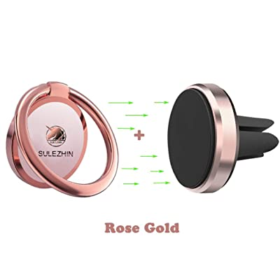 Phone Ring Holder Finger Kickstand 360° Rotation Metal Ring Grip with Magnetic Phone Car Mount Holder for Car Air Vent Magnetic Mount car Phone Holder Set (Rose Gold)
