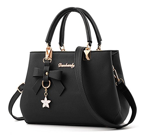 Dreubea Womens Handbag Tote Shoulder Purse Leather Crossbody Bag Black