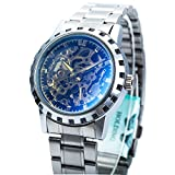 (US) ManChDa Mechanical Mens Automatic Mechanical Stainless Steel Skeleton Sport Wrist Watch Blue Glass