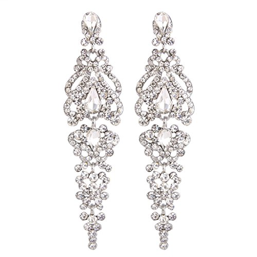 BriLove Women's Elegant Crystal Wedding Bridal 1920s Hollow Floral Cluster Teardrop Dangle Earrings Clear Silver-Tone (Cluster Teardrop Earrings)