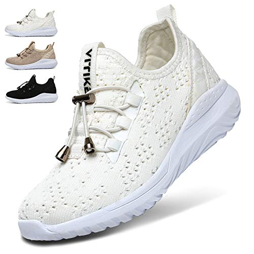 (WETIKE Kids Shoes Boys Girls Sneakers Lightweight Sports Shoes Slip On Athletic Running Walking School Shoes Casual Trainer Socks Shoes with Wide Width White Size 7)