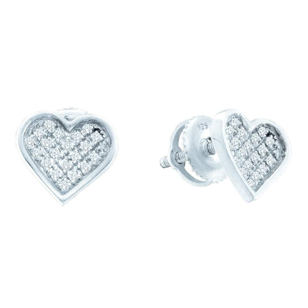 Sterling Silver Womens Round Diamond Concave Heart Cluster Screwback Earrings 1 5 Cttw