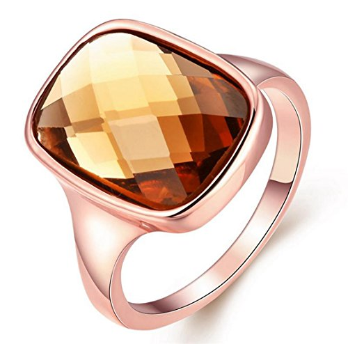 PSRINGS Zircon Champagne Color Plated Rose Gold Beautiful Wo Ring High-End Classy Smooth ring 8.0 (High End Halloween Costumes For Couples)
