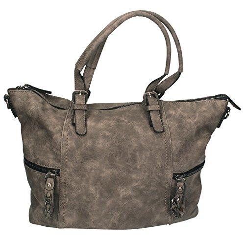 Betz Schultertasche Henkeltasche Umhängetasche Frauen Handtasche Tasche mit Reißverschluss Damen Shopper PARIS 1 Farbe schwarz taupe