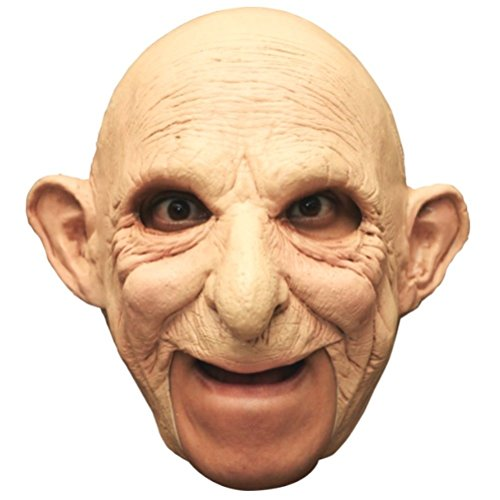 Gus Adult Latex Mask Bald Old Man Grandpa Pops Chinless Open Mouth Costume (Gus Halloween Mask)