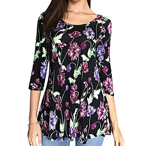 ens Casual Floral Print Shirts 3/4 Sleeves O-Neck Tunic Blouse Tops (Large, Purple) ()