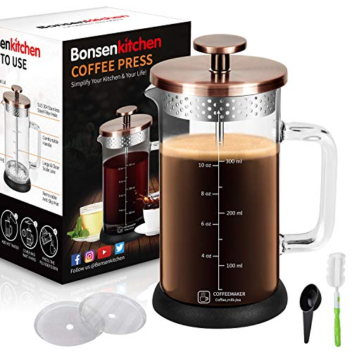 Upgrade Stainless Steel Strainer French Press Coffee Maker 12Oz with 4 Level Filter Screens Built In Thicker…