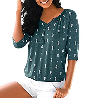 ❤️Blusa para Mujer Bohemia,Camiseta Superior de la Blusa Floja Ocasional de Las señoras de la impresión de la Mitad de la Manga Alta Absolute