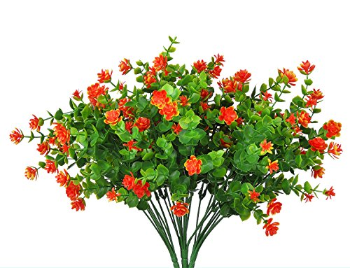Livissima 4pcs Small Artificial Orange Spring Faux Flowers Plants Fake Plastic Greenery Shrubs for Indoor Outdoor Table Home Garden Patio Yard Decorations (Orange)
