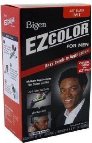 Bigen Mens Jet Black Hair Dye Hair ou Barbe, facile Peigne-Dans la demande, Sans ammoniac, peroxyde basse et pas de taches à votre peau, avec extrait d'aloès et l'huile d'olive extra pour des cheveux lisses, Multiple Application