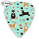 Shiba Inu Dog Sushi And Dogs Print - Aqua Classic Celluloid Picks, 12-Pack, For Electric Guitar, Acoustic Guitar, Mandolin, And Bass