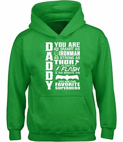 Vizor Daddy Superhero Hooded Sweatshirt Funny Gifts for Dad Super Dad Hoodie Green L