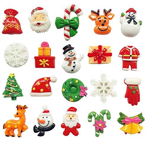LibiIine 20pcs Mix Lots Christmas Tree Snow Beer Resin Flatback Button Art Album Flatback Scrapbooking Embellishments Diy Decoration Scrapbooking Craft -