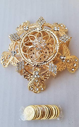 Elegant Arras Coin Set Wedding Star Shape with Gold Angels and Sparkle Rhinestone Crystals Box Boda Doradas Gift Favors with Gift Box