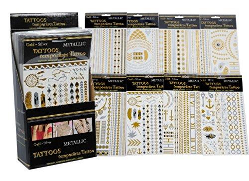 10 Bogen Temporäre Tattoo Metallic Aufkleber für die Haut einmal Body Schmuck Gold und Silber Modeschmuck