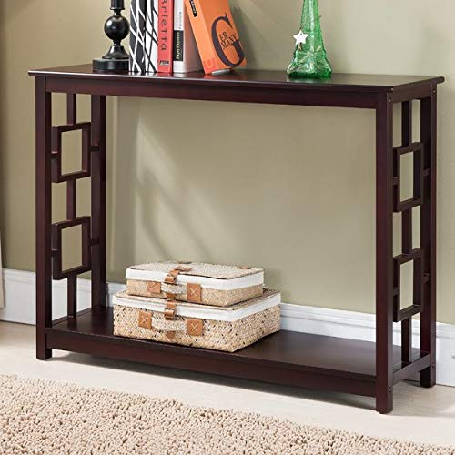 Wood Console Table with 1 Shelf - Rectangular Console Table with Geometric Latticework - Dark Cherry