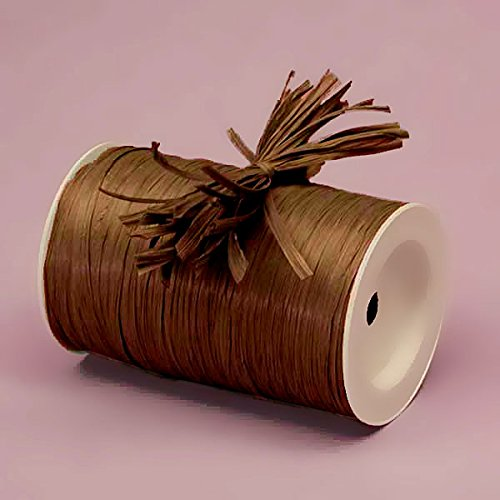 Premium Matte Raffia Ribbon - 100 Yards (Chocolate Brown) - Brown Raffia