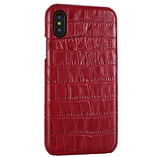 iPhone X Genuine Leather (Crocodile Texture)Case Cover Aroko Real Leather Alligator Skin Texture[Ultra Slim Handmade]Back Cover for iPhone X 5.8inch - Skin Texture Alligator