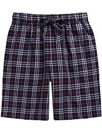Men's Plaid Check Soft 100% Cotton Sleep Lounge Pajama Short with Pocket