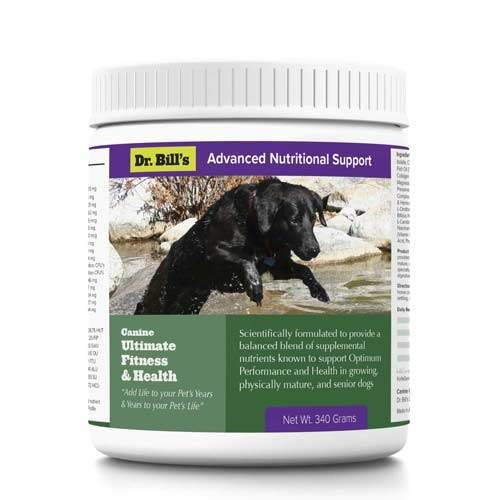 Dr. Bill's Canine Ultimate Fitness & Health | Pet Supplement | Complete Multivitamin for Dogs | Includes CoQ10, Vitamins A, D, E, K, Omega 3, Biotin, Collagen, Enzyme Blend | 340 Grams - 340g Powder