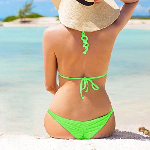 Slip Bikini Bottom Verde da Increspato Donna Indietro Perizoma Minimal Bikini Copertura Mare Imixcity Perizoma Brasiliano Costume OZEXdq6xqw