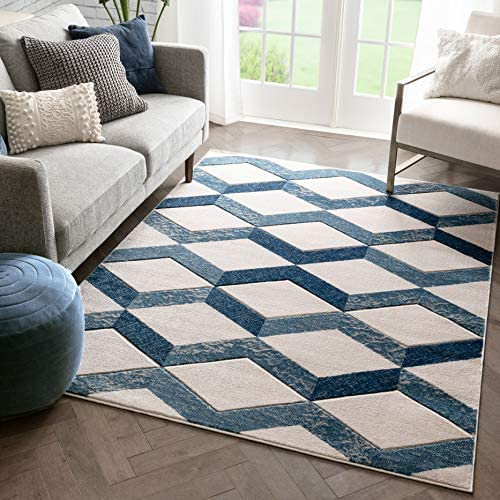 Well Woven Mandy Blue Modern Geometric Zigzag Stripes Pattern Area Rug 8×10 7'10″ x 10'6″