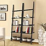 """Topeakmart Wooden 5 Tier Leaning Ladder Shelves Display Shelves Unit Living Room Black (70"""",2pcs)"""