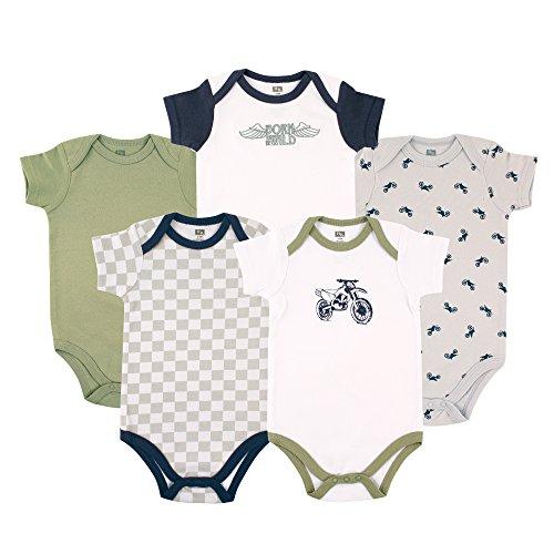 Hudson Baby Unisex Baby Cotton Bodysuits, Dirt Bike 5 Pack, 12-18 Months ()