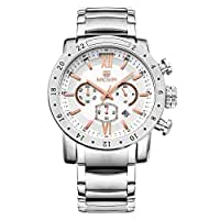 Voeons Mens Watches Stainless Steel Wristwatch Chronograph 3ATM Waterproof Mens Watches Silver