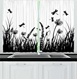 Ambesonne Nature Kitchen Curtains, Grass Bush Meadow Silhouette with Dragonflies Flying Spring Garden Plants Display, Window Drapes 2 Panels Set for Kitchen Cafe, 55 W X 39 L Inches, Black White