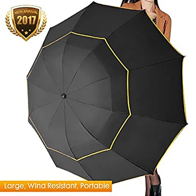 Fit-in Bag Golf Umbrella Compact & Lightweight, 63inch Rain/Wind Resistant Double Canopy Vented Golf-sized Large Travel Umbrella with Small Folding Length 11.8inch