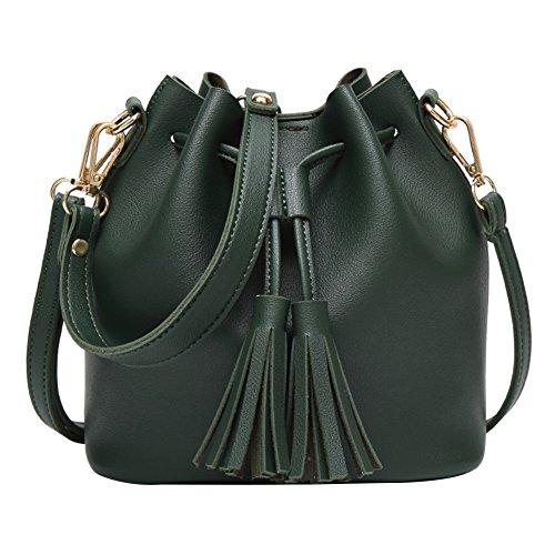 Drawstring Grey Leather Retro Faux Handbag Crossbody Green Big Bangle009 Tassel Bag Bucket Promotion Shoulder Women qXqwOZ