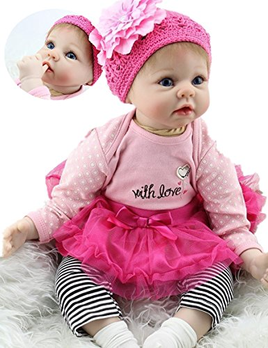 (Handmade Reborn Baby Doll Girl Look Real Silicone Vinyl 22 Inches Lifelike Weighted Body Real Life Rose Red)