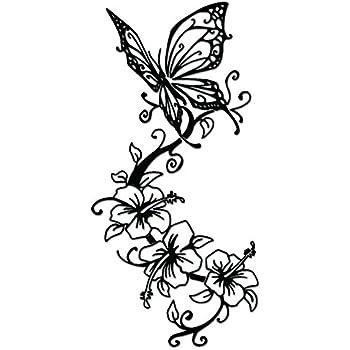 Amazon Com Butterfly Flower Vine Vinyl Decal Sticker For Vehicle