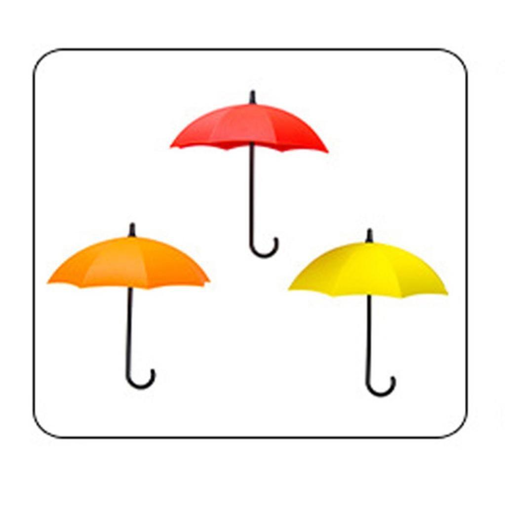 Chartsea 3pcs/set Cute Umbrella Wall Mount Key Holder Wall Hook Hanger Organizer Durable (A)