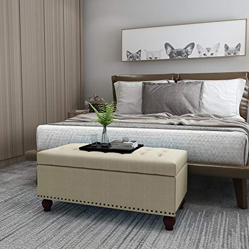 Decent Home Storage Ottoman Bench, Button Tufted Foot Rest Stool for Living Bed Room Beige